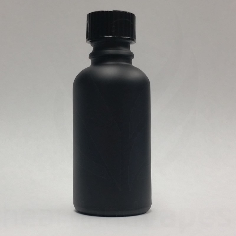 1oz Matte Black Glass Bottle Boston Round Eliquid 30ml